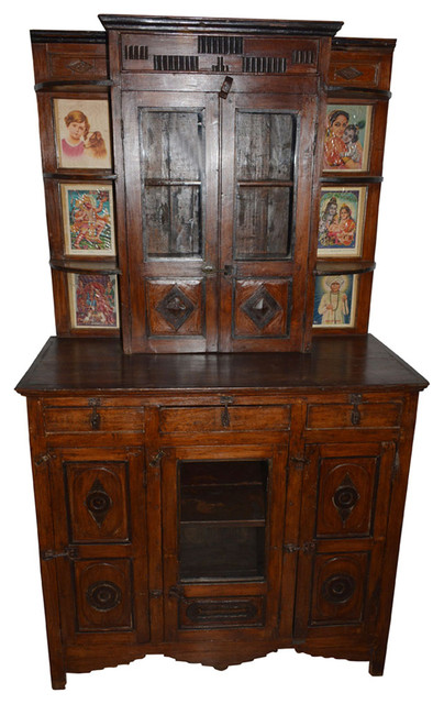 Consigned Antique Wall Cabinet Indian Paintings Boho Drawer Chest Furniture - Consigned Antique Wall Cabinet Indian Paintings Boho Drawer Chest