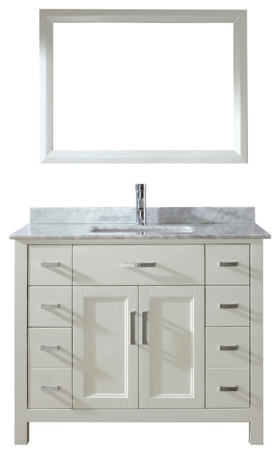 Pleasing Art Bathe Kelly 42 Vanity Set Base White Countertop Natural Carrera Home Interior And Landscaping Ponolsignezvosmurscom