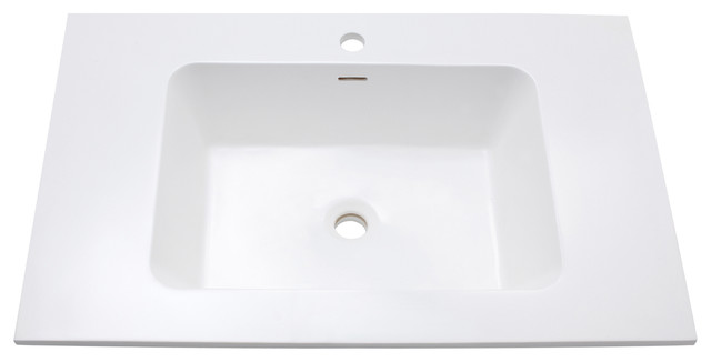 "Versastone 31"" Solid Surface Vanity Top With Integrated Bowl, Matte White Finish."