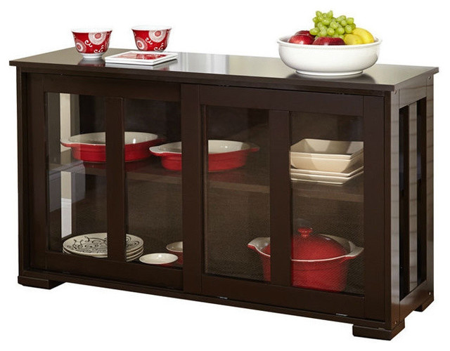 Espresso Sideboard Buffet Dining Kitchen Cabinet With 2 Glass Sliding Doors  Buffets And Sideboards