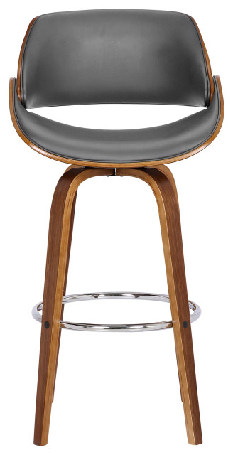 Admirable Mona 26 Counter Heightswivel Barstool Walnut Wood Gray Faux Leather Bralicious Painted Fabric Chair Ideas Braliciousco