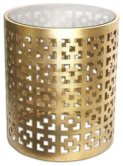 Seketa Regent End Table 19 Gilded Brass Glass Top Contemporary