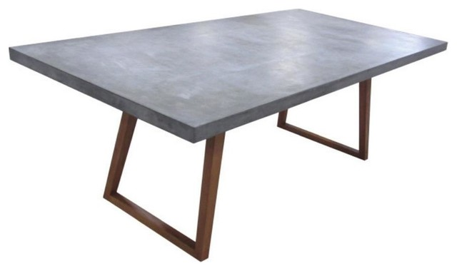 Rectangular Dining Table With Concrete Top Industrial Dining