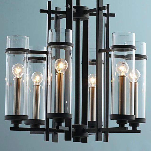 Modern Chandeliers Nyc: Modern Molten Iron And 6 Clear Glass Shades Chandelier