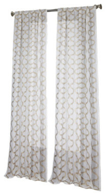 Sherry Kline Claremont Embroidered Sheer Panel Pair, Set Of 2, Taupe.