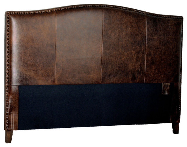 Antique Brown Leather Headboard With Distressed Nail Heads, California King.