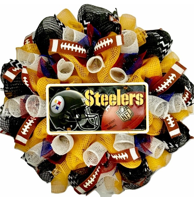 Pittsburgh Steelers Football Sports Wreath Handmade Deco Mesh.