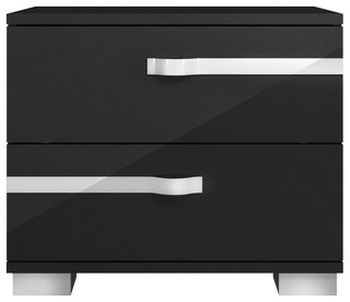Lustro Nightstand, Black High Gloss - Contemporary - Nightstands And Bedside Tables - by Orient ...