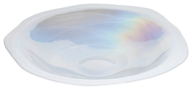 """3.5"""" Tall """"Luster"""" Alabaster Luster Wave Glass Bowl, White"""