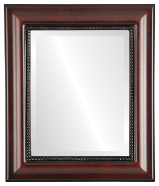 """Heritage Framed Rectangle Mirror In Vintage Cherry, 29""""x41""""."""