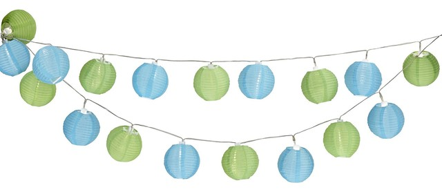 Romvi LED Solar Powered Outdoor String Lights with 20 Lights, Green & Blue Shade - Contemporary ...