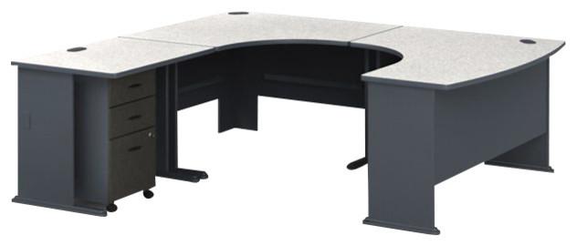 bush series a ushape lefthand corner computer desk in slate