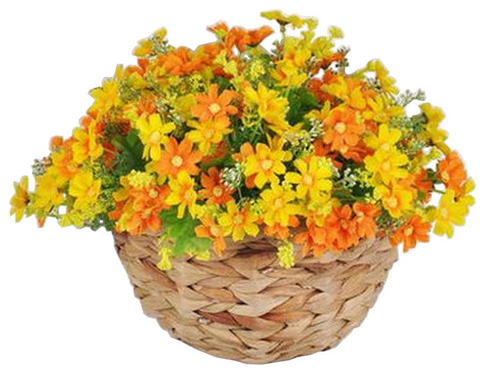 Artificial Flowers Hanging Basket Silk Flowers With Basket Daisy Orange Modern Artificial Flower Arrangements By Blancho Bedding Houzz