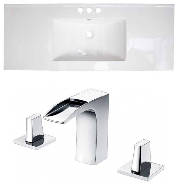 Ceramic Top Set, White Color With 8 O.c. Cupc Faucet.