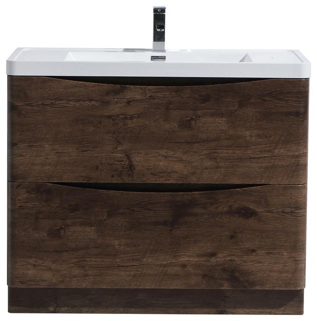 Smile Freestanding Bathroom Vanity With Drawers Rosewood