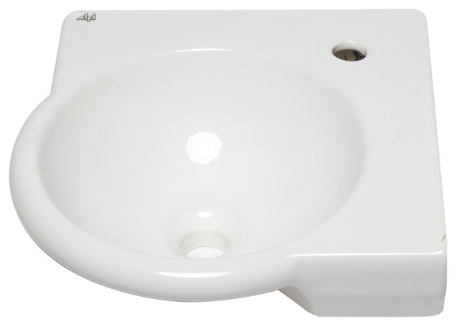 Alfi Brand Ab104 White 15 Round Corner Wall Mount Porcelain Bathroom Sink.