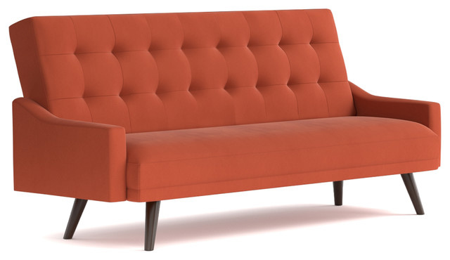 Attractive Oak Creek Click Clack Futon Sofa Bed, Orange Velvet Midcentury Futons