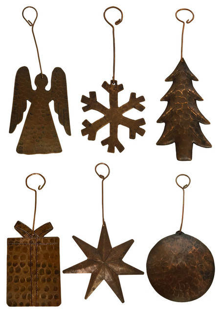 hand hammered copper christmas ornaments set of 6