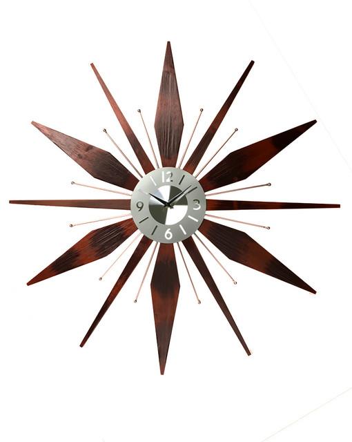Stella Vintage Starburst Wall Clock Midcentury Wall Clocks by