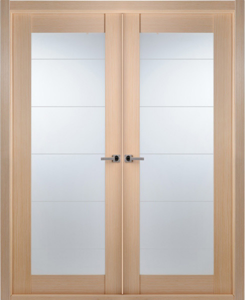 Frosted Glass Interior Doors : Contemporary bleached oak interior double door lined