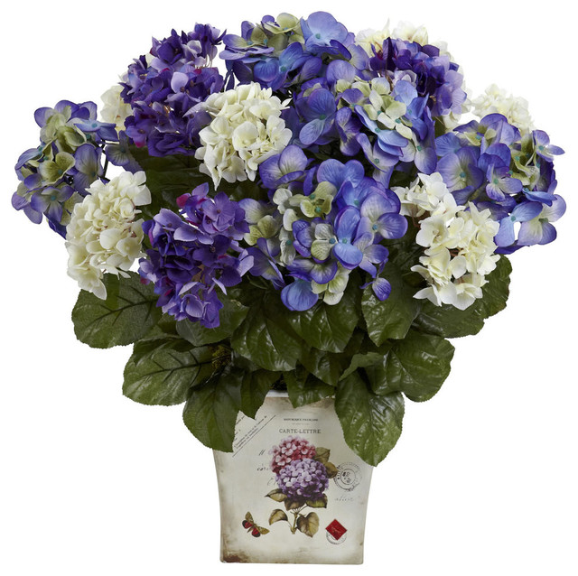 Nearly Natural Mixed Hydrangea With Floral Planter In Blue