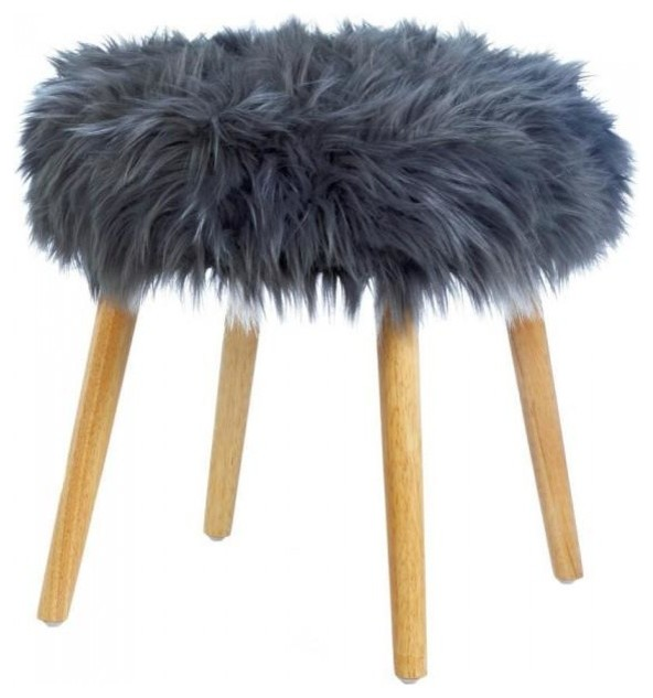 Gray Faux Fur Stool Midcentury Vanity Stools And