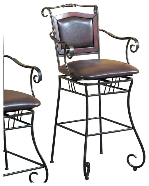 Coaster 29 Inch Metal Bar Stool With Upholstered Seat