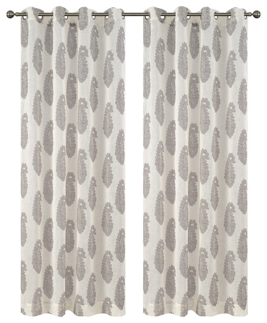 Urbanest Paisley Drapery Curtain Panels With Grommets, Cream.