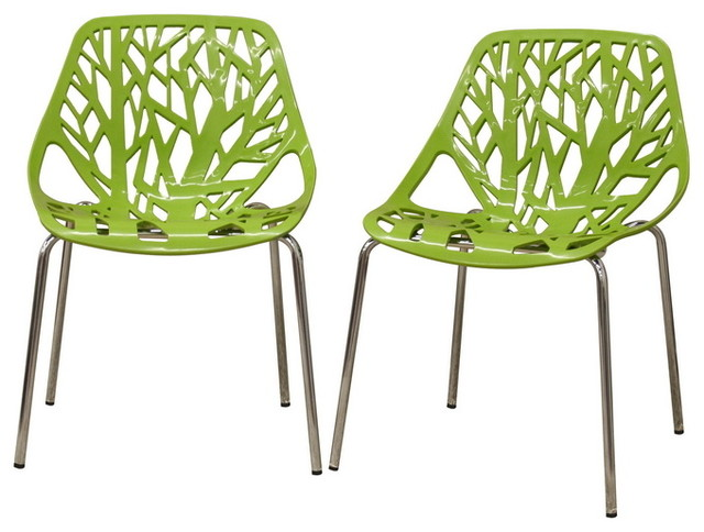 Birch Sapling Plastic Dining Chairs Green Set Of 2