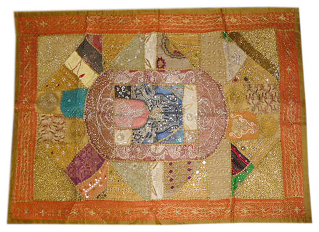 Consigned Home Decor Tapestries Hippie Sari Patch Wall Hanging