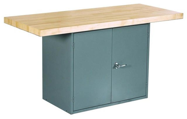 2-Station Workbench, Gray With 2 Door Unit Without Vise.