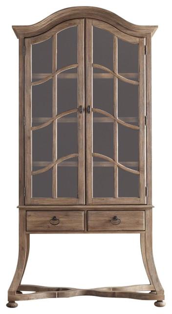 Corsica Display Cabinet Light Wood Base And Hutch