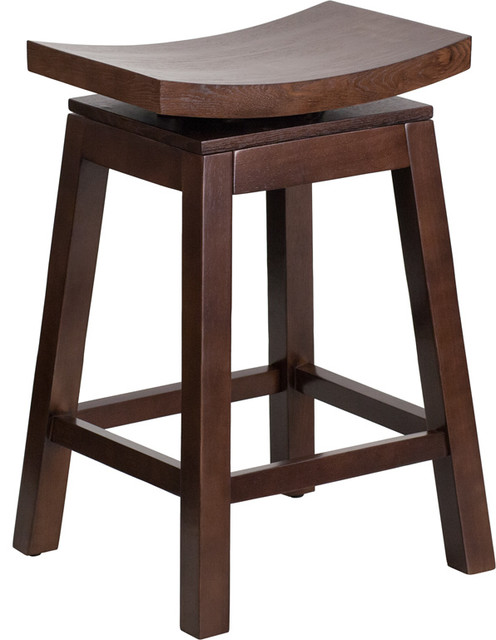 Wondrous 26 Inch High Saddle Seat Cappuccino Wood Counter Height Stool Gamerscity Chair Design For Home Gamerscityorg