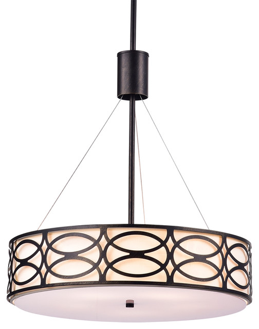5 Light Antique Black Metal And Ivory Round Drum Pendant Chandelier