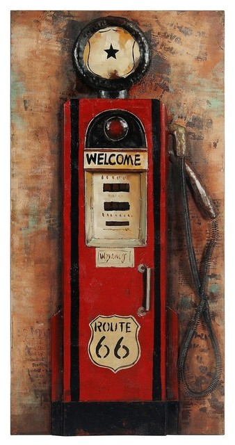"""gas Pump"" Primo Mixed Media Hand Painted Iron Wall Sculpture."