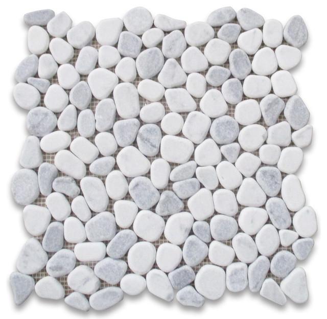 "12""x12"" Carrara Mix Bardiglio Gray Marble Pebble Stone Mosaic Tile Tumbled."
