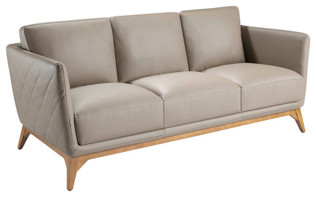 "Mink Leather Sofa With Walnut Legs, 2-Seater, 88""."