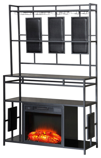 Gregory Bar And Convertible Fireplace With Wine Rack.