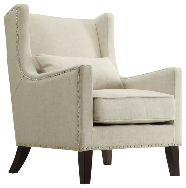 Loris Contemporary Linen Wingback Accent Chair, Beige