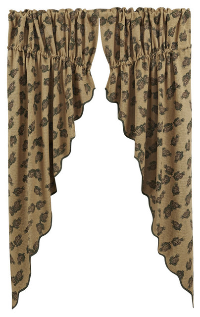 Pine Cone Prairie Curtain Printed Burlap Set Of 2
