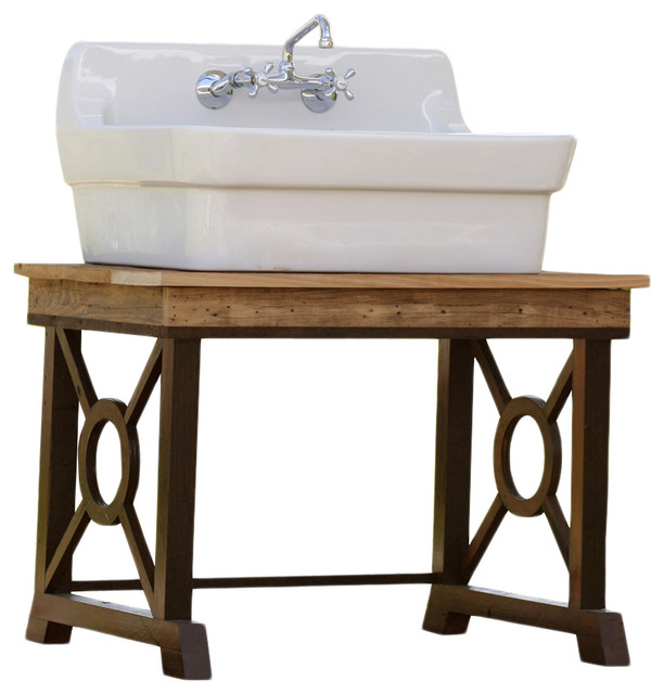 Lovely Porcelain High Back American Standard Farm Sink, Classical Reclaimed Wood  Stand Rustic Kitchen