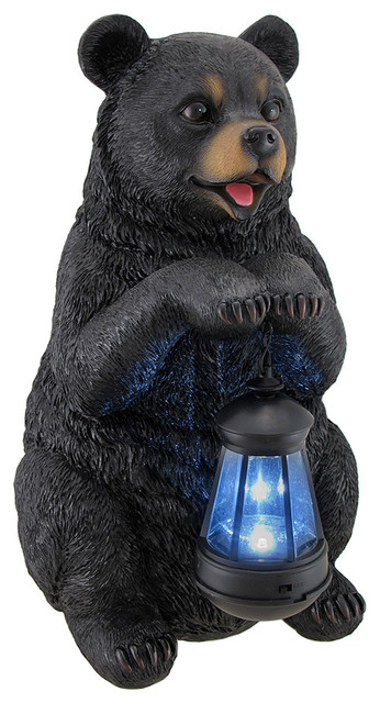 Nice Beacon Of Happiness Black Bear Statue And Solar LED Lantern Rustic Garden  Statues