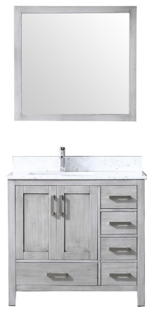 """36"""" Single Vanity With Carrera Marble Top, Sink And 34"""" Mirror, Distressed Gray."""