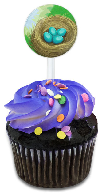 Robin&x27;s Nest With Eggs Cupcake Toppers Picks Set.