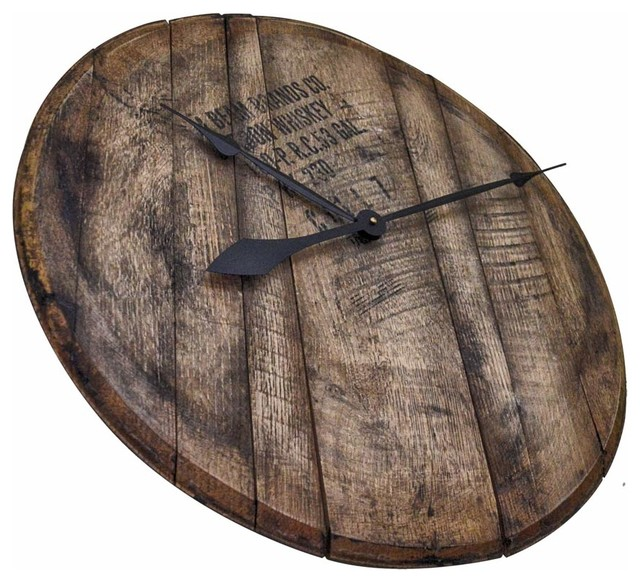 Distiller Used Bourbon Whiskey Barrel Head Clock Rustic
