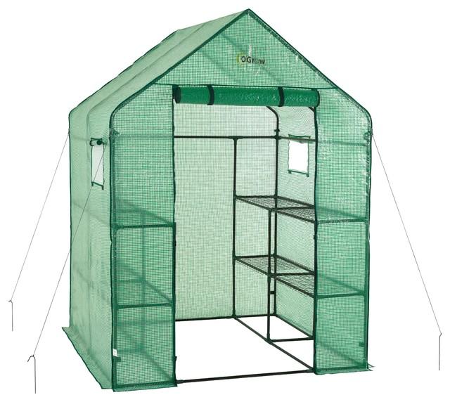 Walkin 2-Tier 8-Shelf Portable Lawn, Garden Greenhouse, Heavy Duty Anchor.