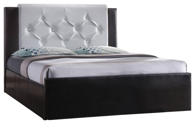 2-Toned Leather Platform Bed, Full.