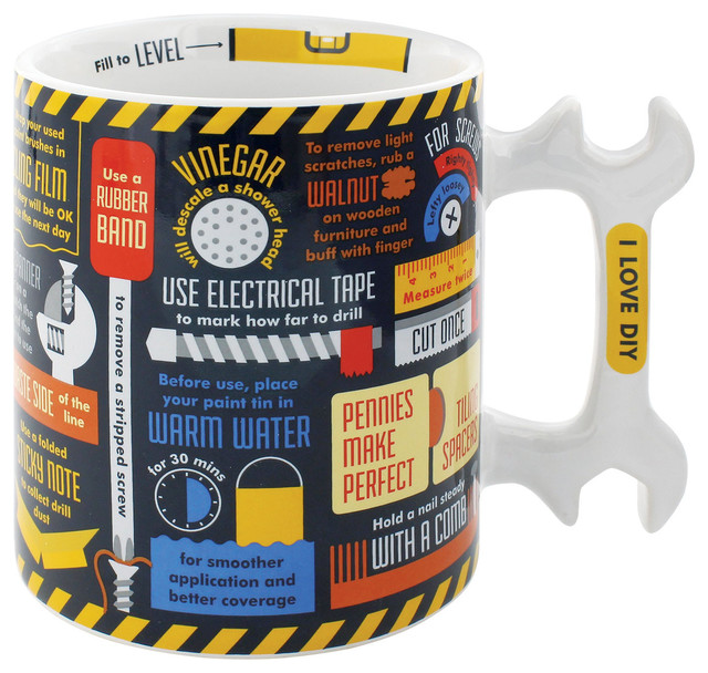 Ceramic Diy Mug With Wrench Shaped Handle Decorative Coffee Cup Holds 16 Oz