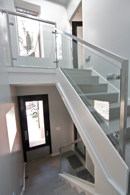 Glass Rails Contemporary Staircase Chicago By Iron