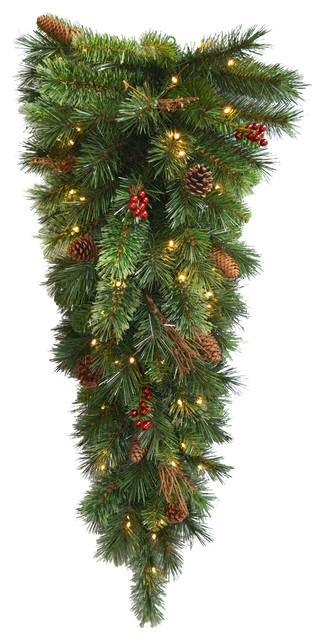 """36"""" Glistening Pine Teardrop With Battery Operated Warm White Led Lights."""